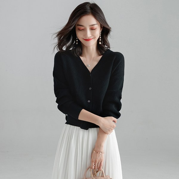 Women V Neck Knitted Cardigan Sweater Long Sleeve Ladies Solid Shrugs for Women Short Cardigans Oversize Sashes button sweater