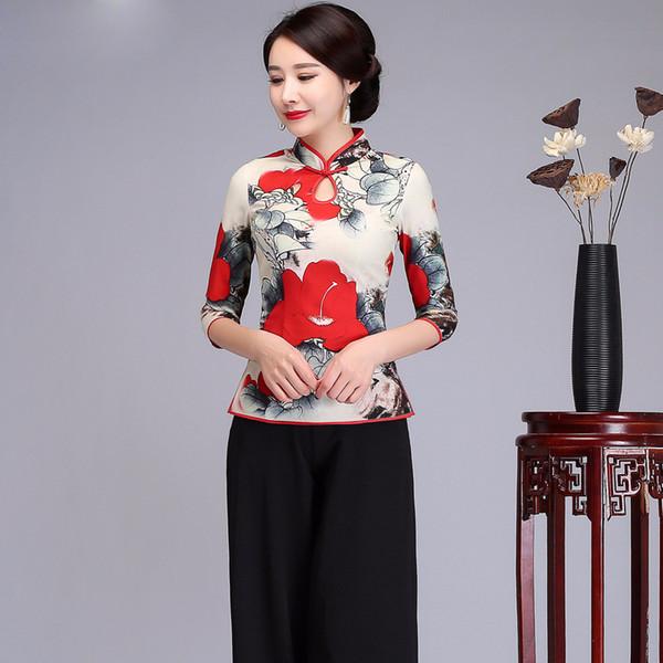 Style chinois femmes chemise mandarin chemise imprimée fleur bouton fait main Tops Slim élégant Satin Tang vêtements, plus la taille 4XL