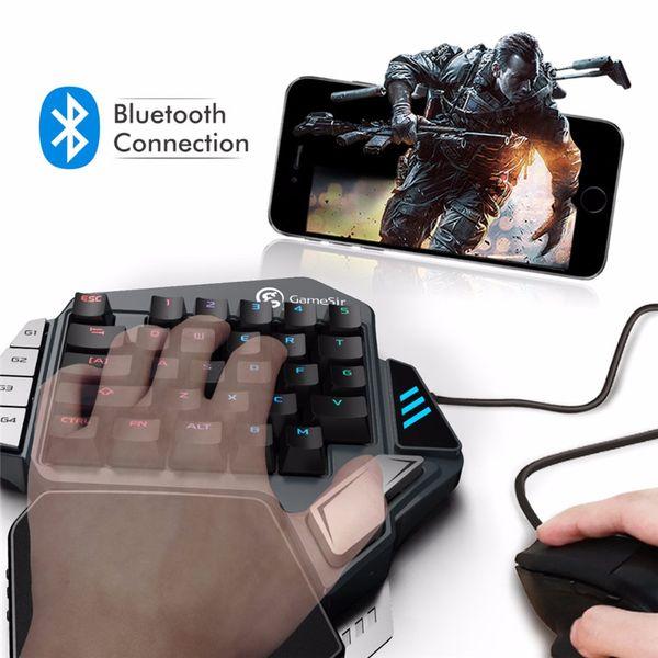 GameSir Z1 RGB Teclado para juegos mecánicos Cherry MX Interruptores de teclas rojas Mini teclado inalámbrico para una mano FPS PUBG Teclado para juegos móvil