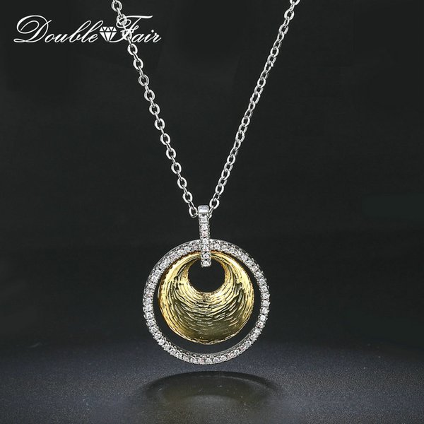 Fashion New Middle Eastern Style Platinum Plated CZ Diamond Pendant Necklaces For Women And Men Party Gift Circle Necklace Jewelry DFN015
