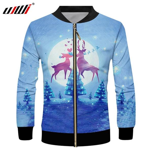 UJWI Casaco de Inverno Dos Homens do Floco De Neve de Natal Com Zíper 3D Impresso Lua E Homem Elk Roxo Animal Lovel Tamanho Grande Casaco de Zip