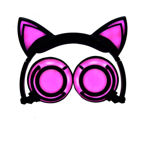 Las orejas de gato de dibujos animados infantiles de cable estilo caliente para cargar los auriculares plegables en línea de la luminiscencia del teléfono móvil