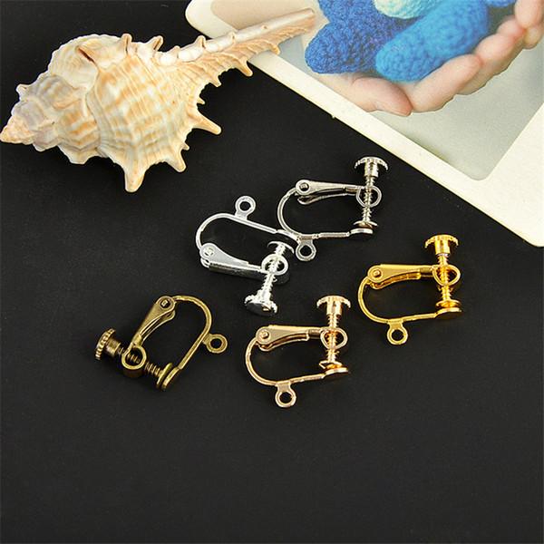 100pcs/lot 12*12mm Copper Metal No Piercing Adjustable Screw Earring Ear Hooks Clips DIY Earring Finding