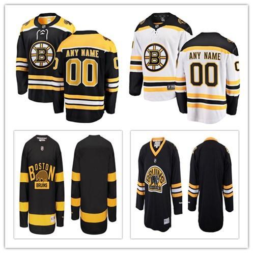 Kundengebundene Boston BruinsJerseys-Gewohnheit irgendein Name irgendeine Zahl Authentische Eishockey-Jerseys genähte personifizierte Jersey-Größe S-4XL