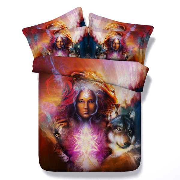 3D galaxy Duvet Cover Witch wolf bedding sets queen Bedspreads Holiday Quilt Covers Bed Linen Pillow Covers blue orange amazing design
