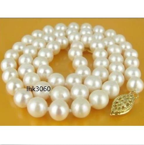 """real classic 18"""" 9-10mm akoya white pearl Necklace 14K yellow Gold Clasp @"""