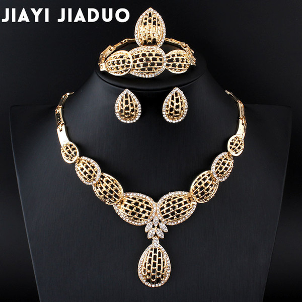 whole salejiayijiaduo Jewelry Set For Women Bridal Party of Crystal Pendant Earrings Gold-color end Statement Necklace Bracelet Ring set