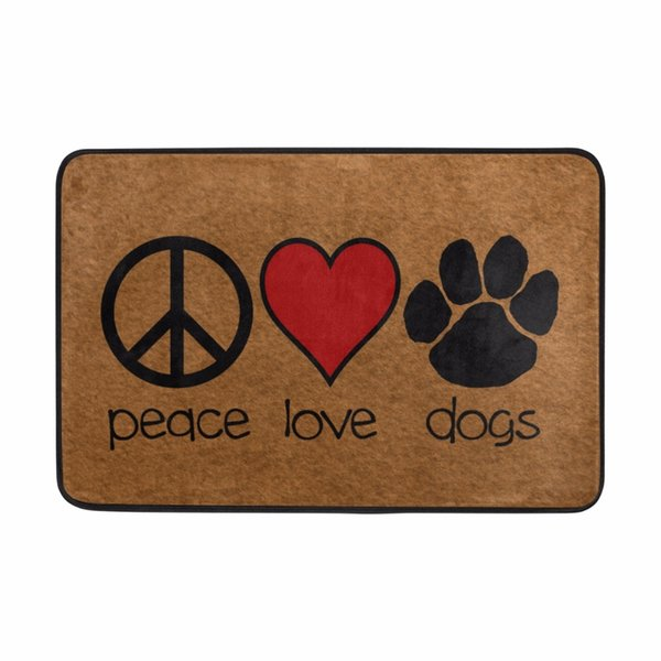 Floor Mat Cute Marks of Peace Love& Dogs Welcome Doormat Anti-slip Mat for Bathroom Quick-drying Water Absorption Diatomite Rug