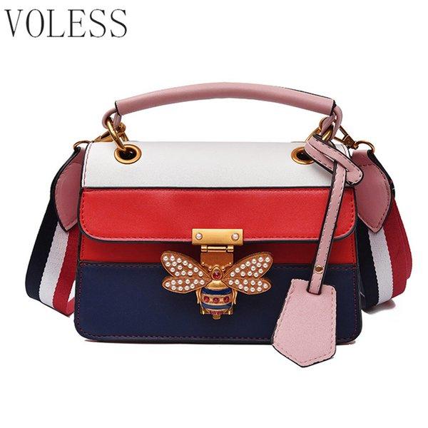 Mujeres de la moda bolso bandolera correa colorida bolsos de hombro de las señoras abeja famoso diseñador bolso Femme bolsa de mensajero sac nuevo