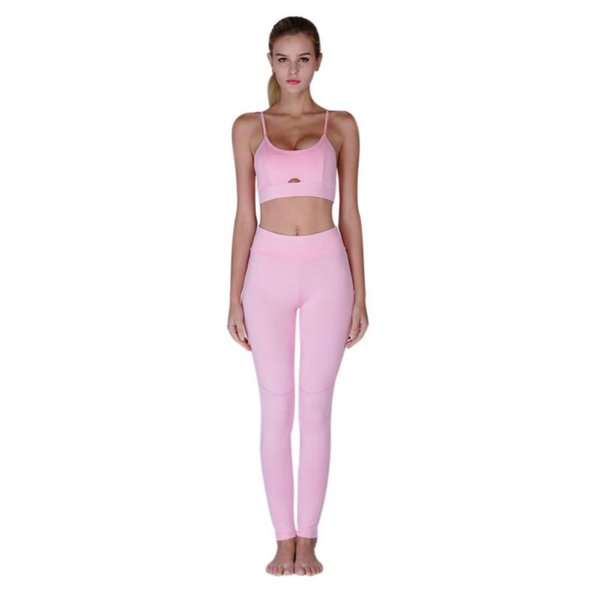 4839ec8277 2018 New Lady Yoga Fitness Set Close-fitting Long Pants Suit Gym Sports  Hollow Sling Bra + Legging Set 2 Piece Sportswear Bthi