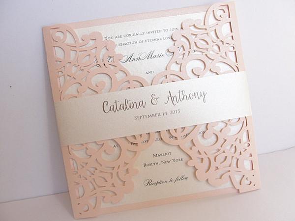 2018 Bush Free Printed Wedding Invitations Cards with Belt Rustic Laser Cut Invitation Card Flower Baptism Invitation Elegant Party Invites