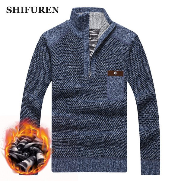 wholesale Winter Warm Thick Velvet Sweaters Men Pullovers Zipper Mandarin Collar Jumpers Causal Male Sweater Knitwear Size S-XXXL