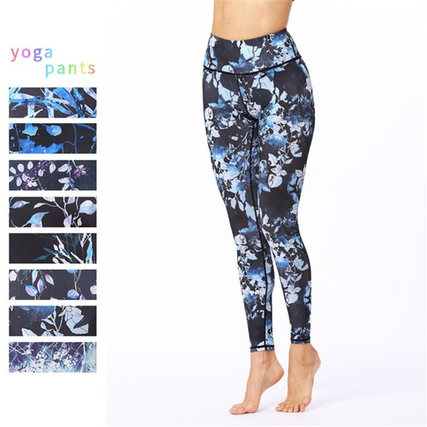 Womens Vine Digital Print Yoga Pants Running Riding Sports Trousers Super Elastic Cropped Pants Workout Athletic Tights Gym Fitness Leggings