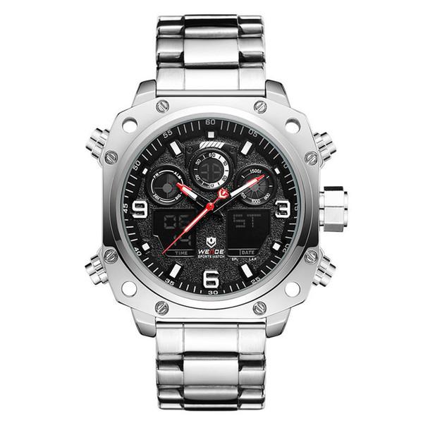 WEIDE Dual Display LCD Backlight Watch Men Stainless Steel Sport Leisure Business Wristwatch Quartz Wristwatches Multifunctional