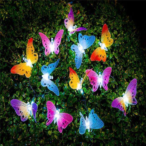 Novo bom 12 LED fibra borboleta solar jardim à prova d 'água de Natal e-commerce hot string borboleta cordas borboleta luz