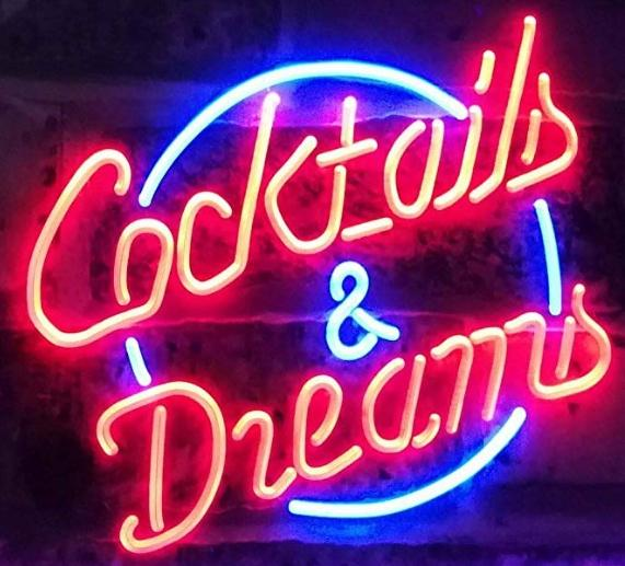 cocktails and dreams Neon Beer Sign Bar Sign Real Glass Neon Light Beer Sign New Blue Star Beer Bar Pub Real Glass Handmade Neon 24x20inches