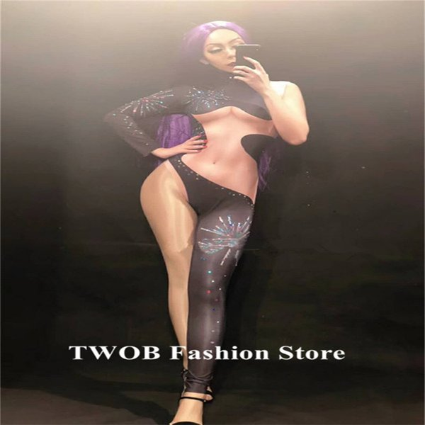 F11 Sexy prom women Jumpsuit ballroom pole dancer costumes crystal bodysuit singer wears club performance diamonds outfit party bar dresses