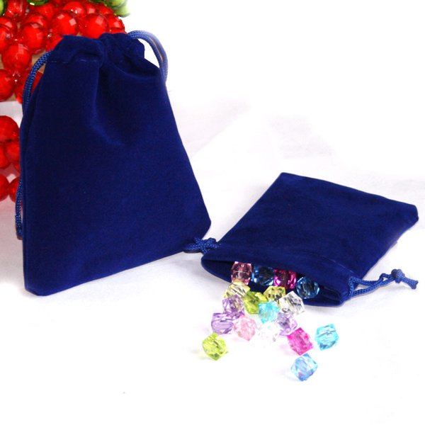 50pcs 7x9cm Sac de sac de cordon / sac à bijoux en velours bleu foncé, Sac de cadeau de mariage / Noël PS-PDA01-01DBL