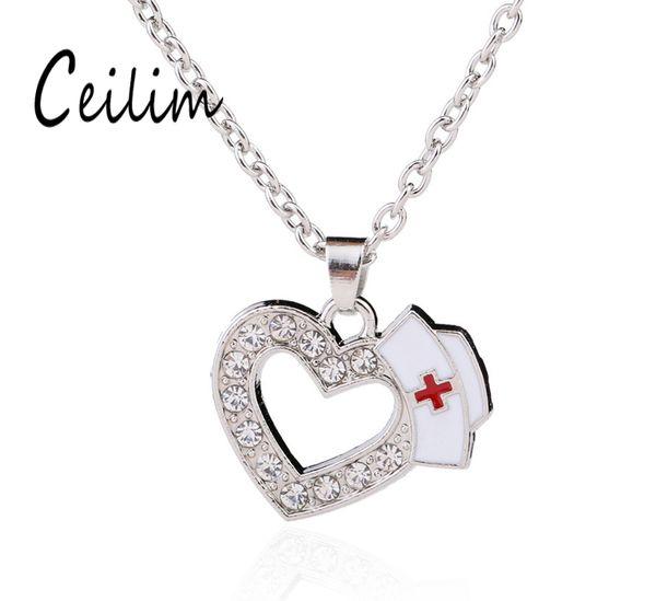 Neue Mode Medizinische Schmuck Krankenschwester Cap Charms Kristall Liebe Herz Anhänger Halsketten Weiß Emaille Rotes Kreuz Zeichen Medizin Schüler Geschenke