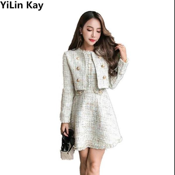 YiLin Kay 2017 autunno inverno tweed due pezzi imposta abbigliamento donna manica lunga pulsante oro tweed cappotto mini vestito vestito maglia