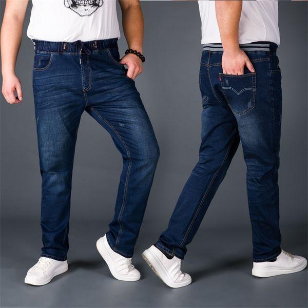 Pantaloni lunghi L-6XL 7XL plus size a vita alta Pantaloni jeans a coste elastici Pantaloni a coulisse in denim morbido