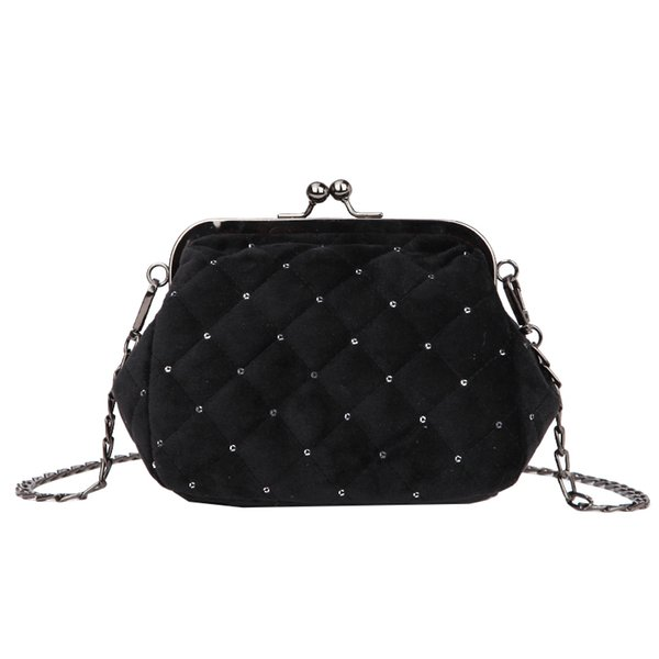 ICEV new Mini velour crossbody bag ladies small square bags for women fashion clip clutch quilted chain shoulder bag sac a main