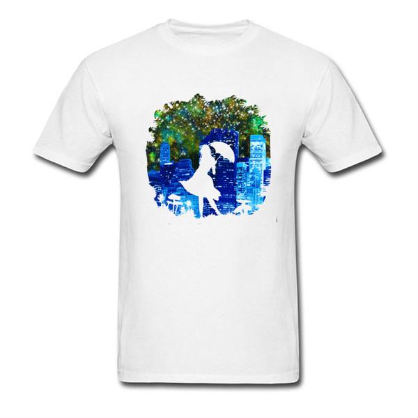 Umbrella City 2018 Brand Design Men T Shirt Pure White Cotton Tops & Tees Art Drawing Woman Silhouette Print Tshirt