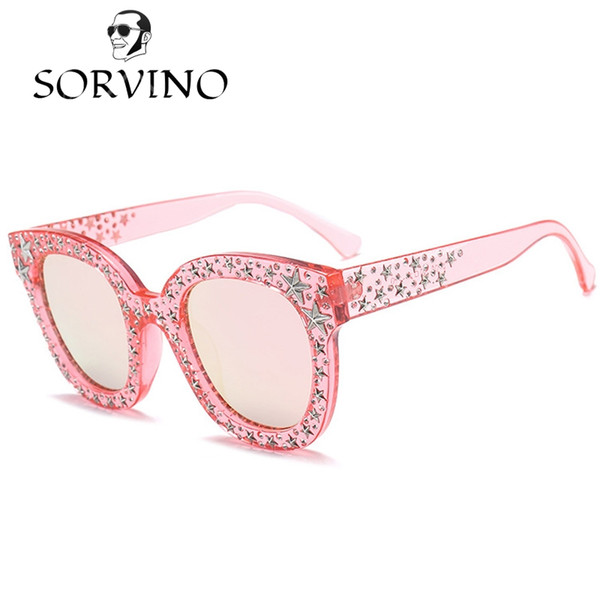 SORVINO 2018 Pentagram Embellished Square Pink Sunglasses Women Vintage Female Crystal Rhinestone Sun Glasses Retro Shades OM523