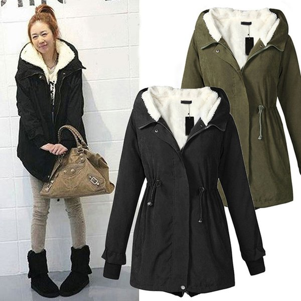 Winter Hooded Women's Parka Women Coat Military Army Green Black Thick Warm Fleece Mid Long Vintage Jacket Female Plus Size 5XL S18101503