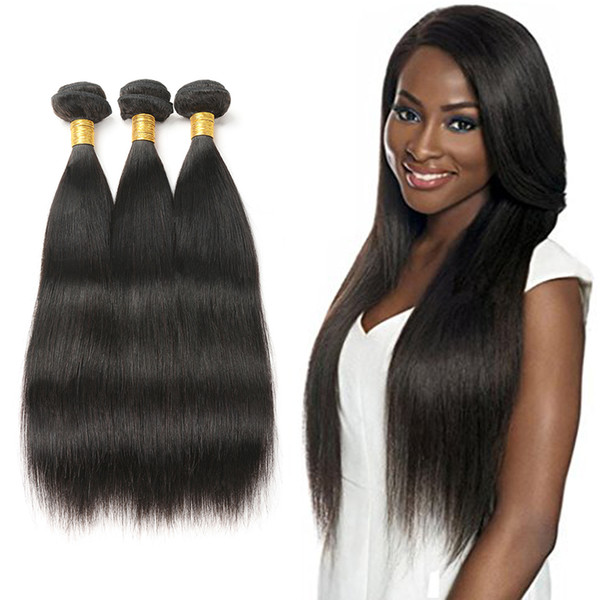 Brazilian Virgin Straight Hair Weave 100% Human Hair 3 bundles 8-30 Inch Non-Remy Hair Extension Machine Double Weft Natural Color