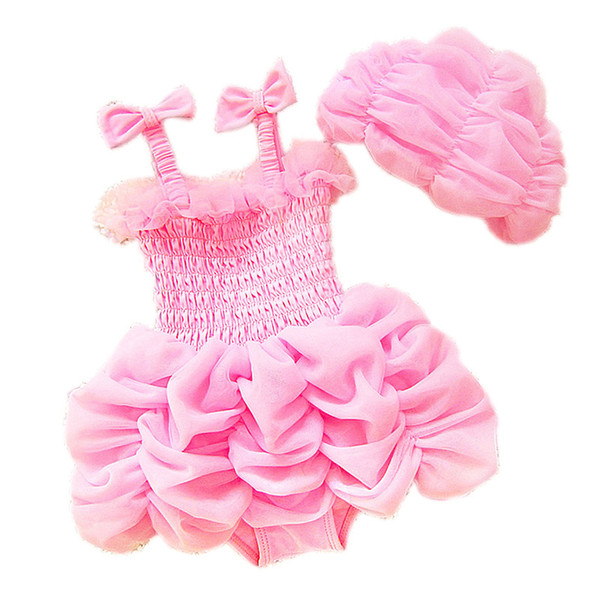 Lovely Lace Kids Ruffle Pink Swimsuit One-piece Braces Skirt with Ruffles Swimwear Factory Direct Sales Kids Swimsuit and Hat