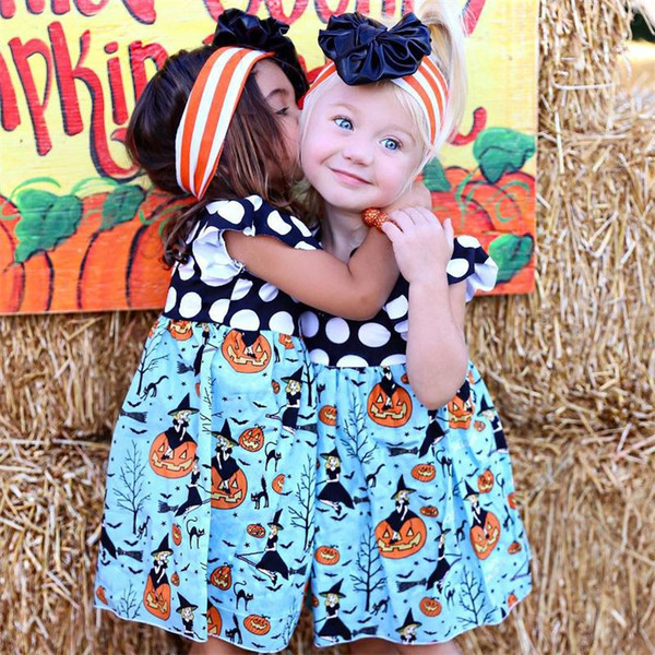 Baby Girl Halloween Princess Dress Sleeveless Polka Dot dresses Toddler Kids Patchwork Pumpkin Print Dress Girls Holiday Party Costume