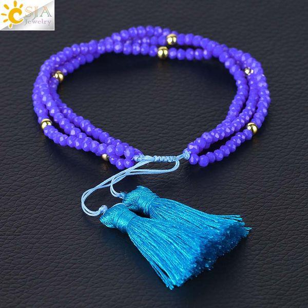 CSJA Friendship Bracelets Fringe Tassel Pendant Faceted Crystal Beads Braided Bracelet Women Jewelry Gift Adjustable Bohemian Jewellery S096