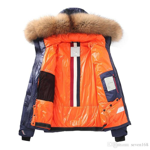 New M Brand Men thickening down jacket Warm duck down parkas 100% real raccoon fur collar hood down coat 2 colour