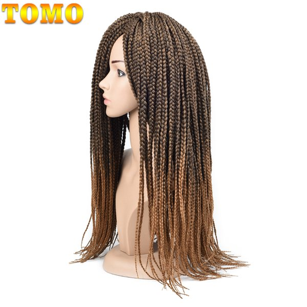TOMO Box Braid Pure/Ombre Brown Crochet Braided Hair Extensions Synthetic Braiding Hair Bluk For Black Woman 14/18/22inch 22 strands/pack