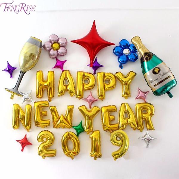 Compre Fengrise Feliz Año Nuevo Globos Decoración De Año Nuevo 2019 Baloon Decoración De Navidad Para El Hogar Adorno De Navidad 2018 Navidad