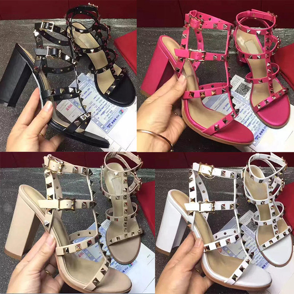 2018 de alta qualidade sapatos de marca de estilo Europeu de couro importado sandalsdesigner feminino tem tag chinelos femininos moda feminina de salto alto