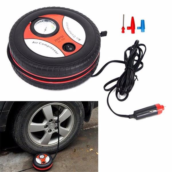 top popular Car Mini Inflatable Pump 260PSI DC12V Metal Plastic Electric Air Compressor Monitor Pump with 3 Nozzle Adapters 2021