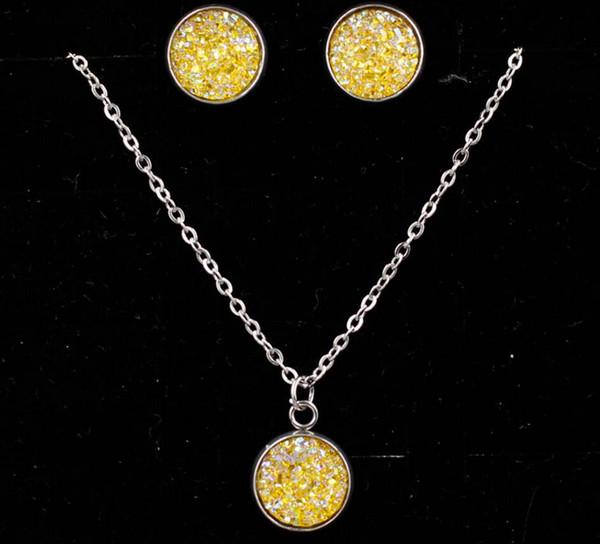 Drusy druzy colar gota brincos conjunto de jóias glitter druzy choker para mulheres