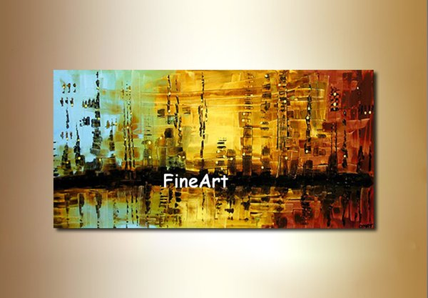 2019 Hand Painted Beautiful Huge Abstract Art Bright Color Canvas Painting Art Nature Painting Art Canvas Decoration Of The Walls In The Bedroom From