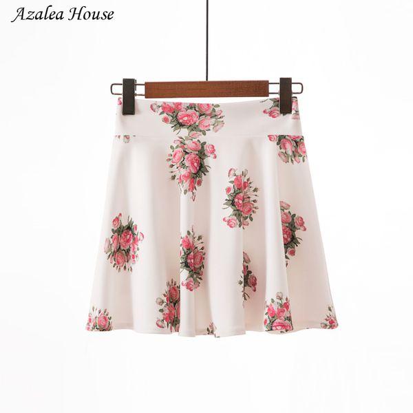 2018 Azalea House Women Casual sweet Pencil Skirt Women Summer High Waist Zipper Vintage Elegant Bodycon Floral Print Midi Skirt