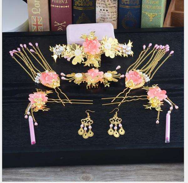 Großhandel Chinesische Bräute Kämmen Goldene Haarkronen Alte Kostüme Krone Chinesische Hochzeit Antiken Stil Krone Ornamente Von Wusabongs