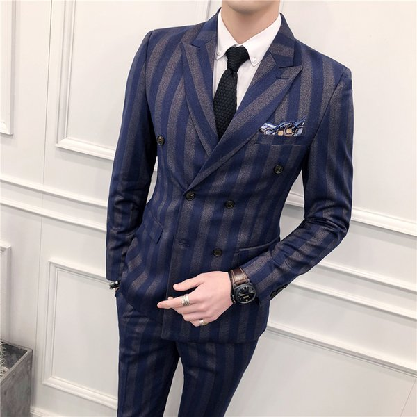 Slim Fit Double Breasted Suit 2018 Latest Coat Pant Designs Skinny Men Prom Stripe Suits Wedding Costume Homme Luxe 3 Piece S18101902