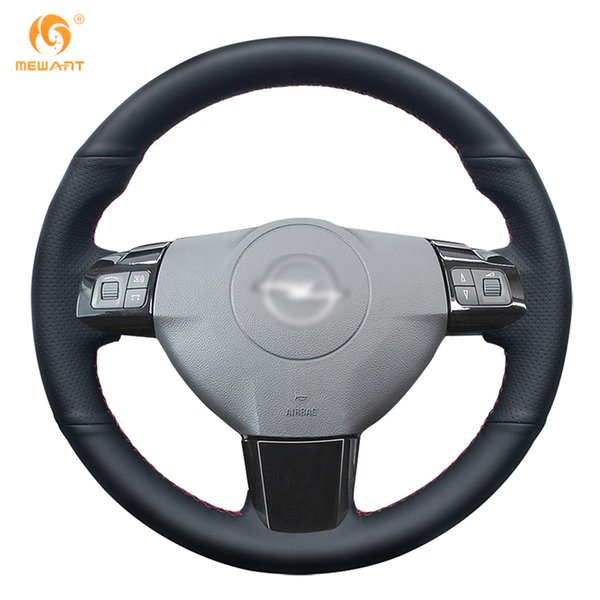Custom MEWANT Black Genuine Leather Car Steering Wheel Cover for Opel Astra 2005 2006 Vauxhall Astra