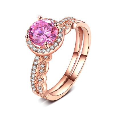 Rose gold explosion style jewelry Fashion round pink zircon ring creative detachable double-layer female ring