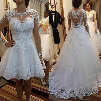 Romantic Knee Length Wedding Dresses Detachable Train Round Neckline Applique Beaded Bohemian Country Bridal Gowns With Sleeve Vintage 2019