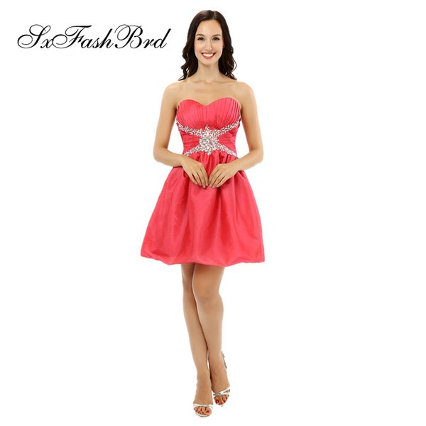 Fashion Elegant Sweetheart With Beading A Line Mini Short Red Satin Party Formal Evening Dresses for Women Prom Dress Gowns