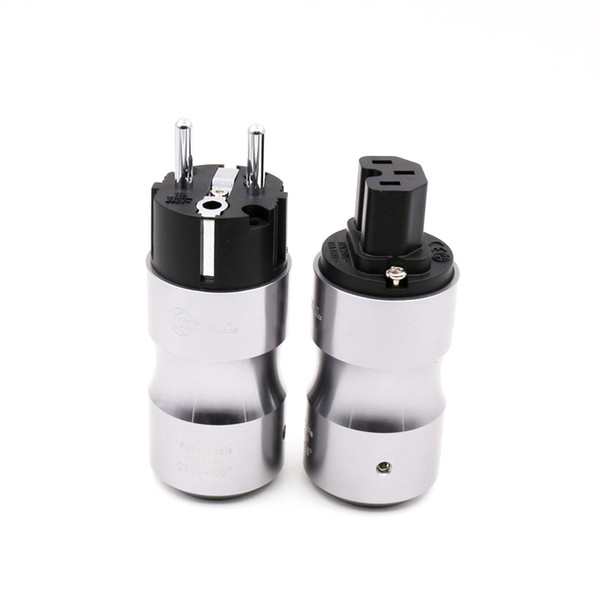 1 pair Hifi audio Krell Rhodium plated EU Schuko AC Cord Power Plug+IEC Female Connector adapter for Hifi DIY power cable
