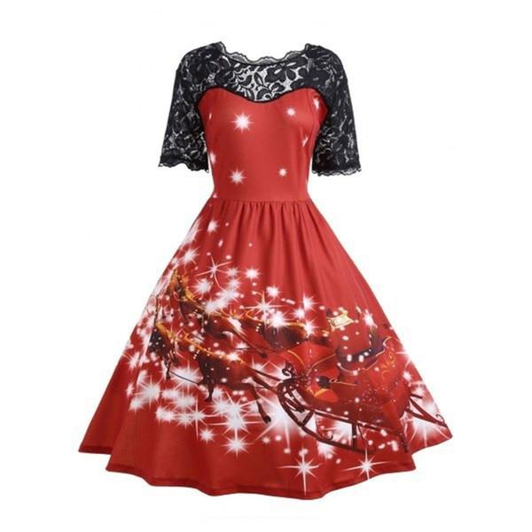 Druck-schönes Kleid-Schwarzes der Frauen-Weihnachts3d 3D getäfelte rote lange Kleider-Partei-Abend-Kleid Freies Verschiffen
