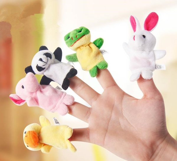 Familia Títeres de dedo Muñeca de tela Bebé Educativo Mano de dibujos animados Animal dedo juguetes regalo para niños dedo de peluche de juguete de la novedad de la mordaza juguetes XXP117